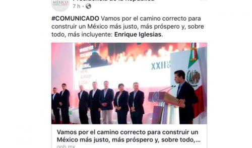 ¿Enrique Iglesias Presidente de México?, se equivocan en Facebook de Presidencia