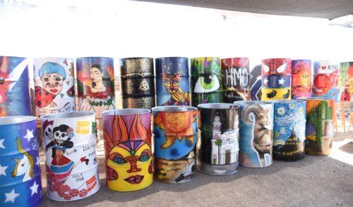 Instalan tambos con arte urbano en Festival Internacional del Pitic