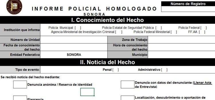 Fiscalía General de Justicia de Sonora, desarrolló nuevo informe policial homologado