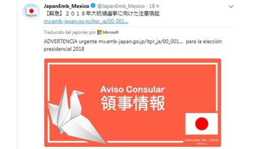 Japón emite alerta de viaje a México por violencia política