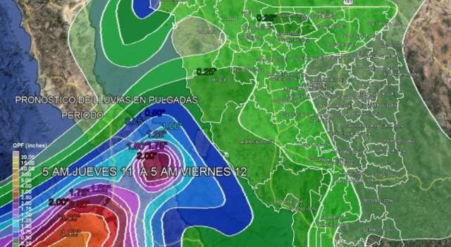 Pronostican lluvias intensas a partir de mañana jueves en Sonora