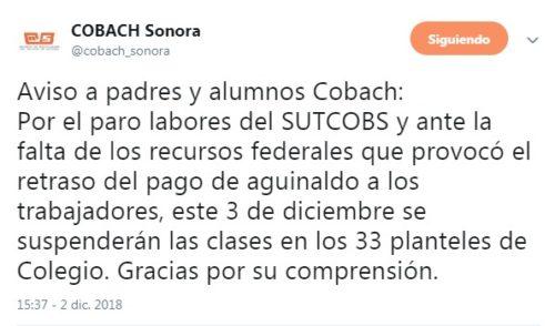 Por falta de pago de aguinaldos cancela clases COBACH en Sonora