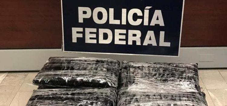 En el AICM policía federal asegura aparente droga oculta en impresoras láser