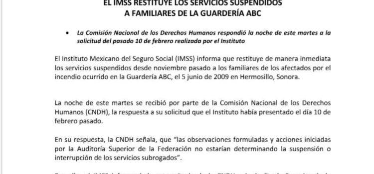 Restituye IMSS servicios médicos a afectados por incendio en la Guardería ABC