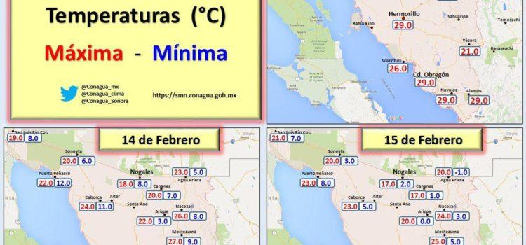 Continuarán temperaturas bajas en Sonora