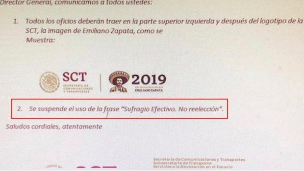 Sufragio efectivo, no reelección: Acusan retiro de frase antireeleccionista en papelería de Gobierno