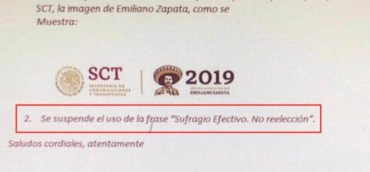 """Se deslinda SCT de haber eliminado frase """"Sufragio efectivo. No reelección"""" de documentos oficiales"""
