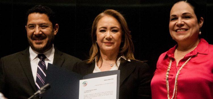 Yasmín Esquivel, esposa de Riobóo (amigo de AMLO), protesta como Ministra de la SCJN en el Senado