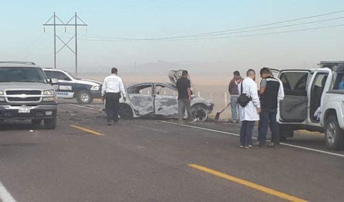 Mueren cinco calcinados en carretera Bahía de Kino