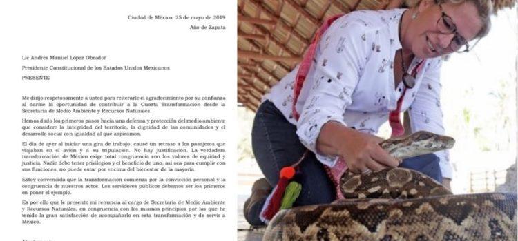 Renuncia Josefa González Blanco, titular de la Semarnat