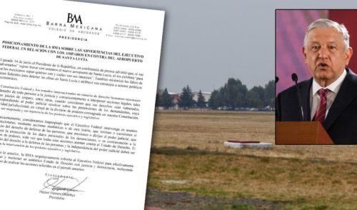 Las amenazas de AMLO por Santa Lucía atentan contra el Estado de Derecho: Barra de Abogados