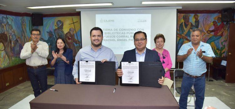 Reactiva Mariscal Alvarado Convenio de Colaboración con ISC en beneficio de las bibliotecas públicas de Obregón y Esperanza