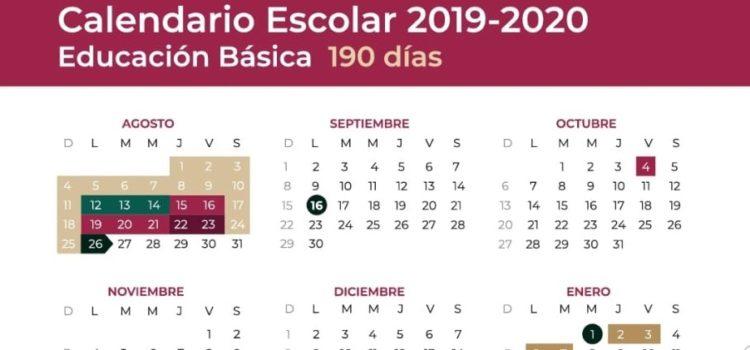 Aplicará calendario escolar de 190 días de clase en ciclo 2019 – 2020